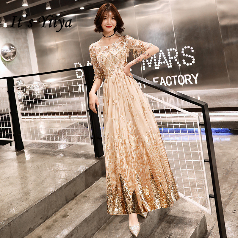 It's YiiYa   Evening     Dresses   Shining Gold Sequined Illusion Wedding Formal   Dress   Embroidery Tassel Floor-length Party Gowns E365