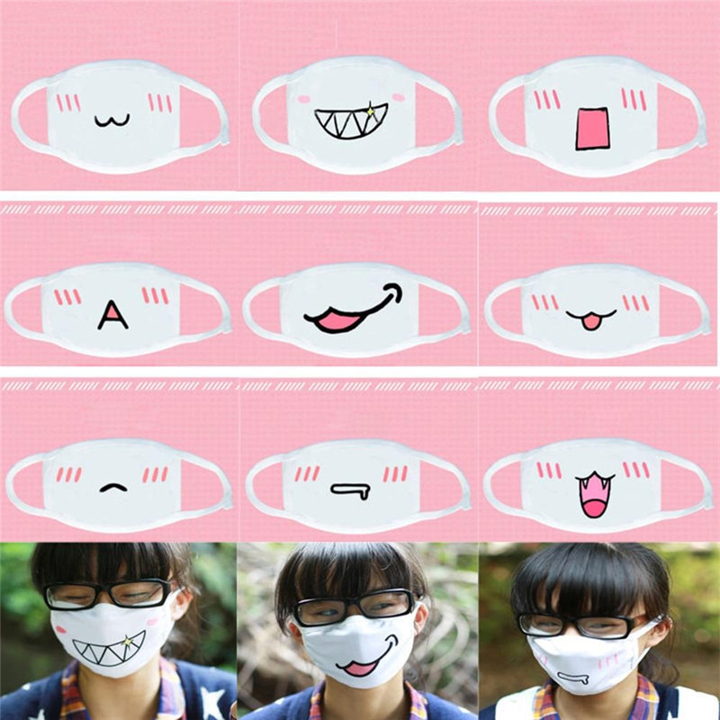 Imixlot Cute Portable Cotton Funny Mouth Expression Foldable Carry Unisex Casual  Kawaii Half Face Mask Supplies