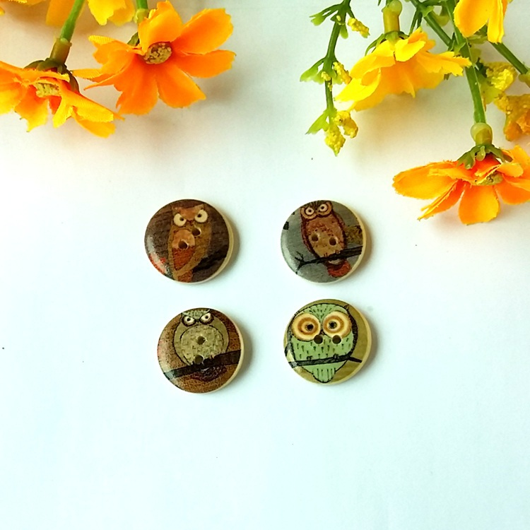 Wholesale - 200PCS Hot Sale Mixed Owl Wooden Buttons for craft decorative 15mm Fit Clothes Accessories Have in Stock