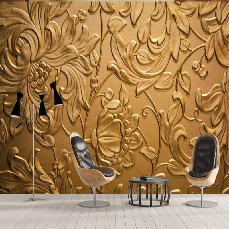Us 2195 46 Offwallpaper Luxury Wall Coverings Gold Wallpaper Abstract Daisy Chrysanthemum Home Design Living Room Sitting Room Design Study In