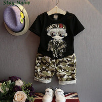Summer Children Boy Clothes Sets Kids 2pcs Short Sleeves T Shirt Toddler Suits Camouflage Shorts Child