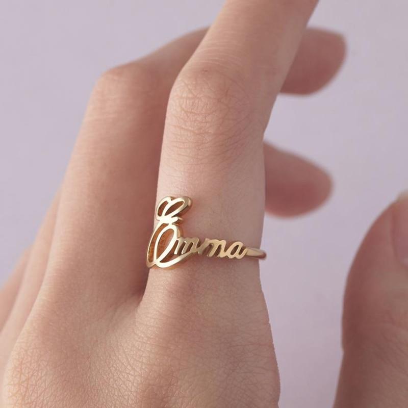 Balade authentique 925 argent Sterling personnalisé personnalisable enfant nom anneau pour maman personnalisé Cursive nom bijoux cadeau