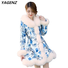 YAGENZ Women Imitation Fur Coat 2017 Winter Coat New Elegant Print Down Cotton Jacket Artificial Fur Keep Warm Casual Tops A631