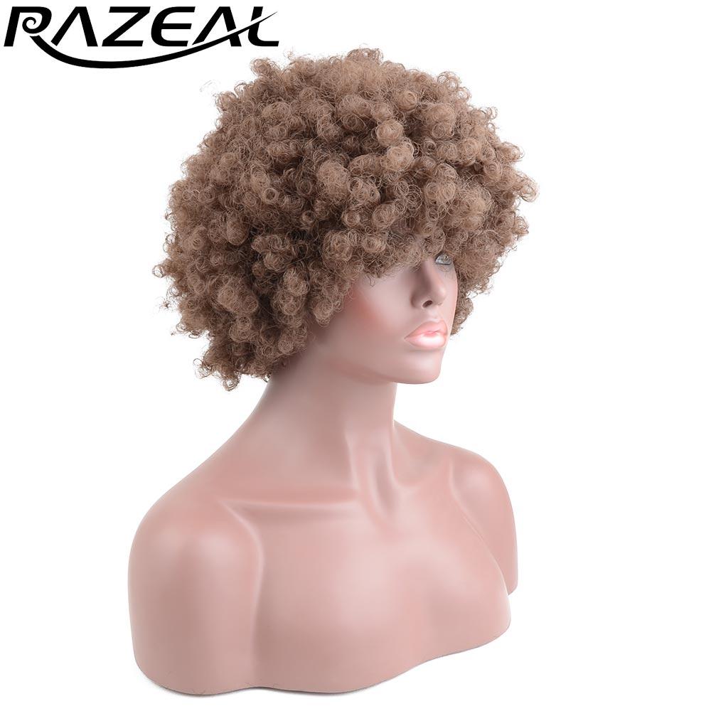 Razeal Short Afro Kinky Curly სინთეზური პერანგები Pixie Cut Wig ბუნებრივი თმის პერანგები Cosplay Brown Kanekalon