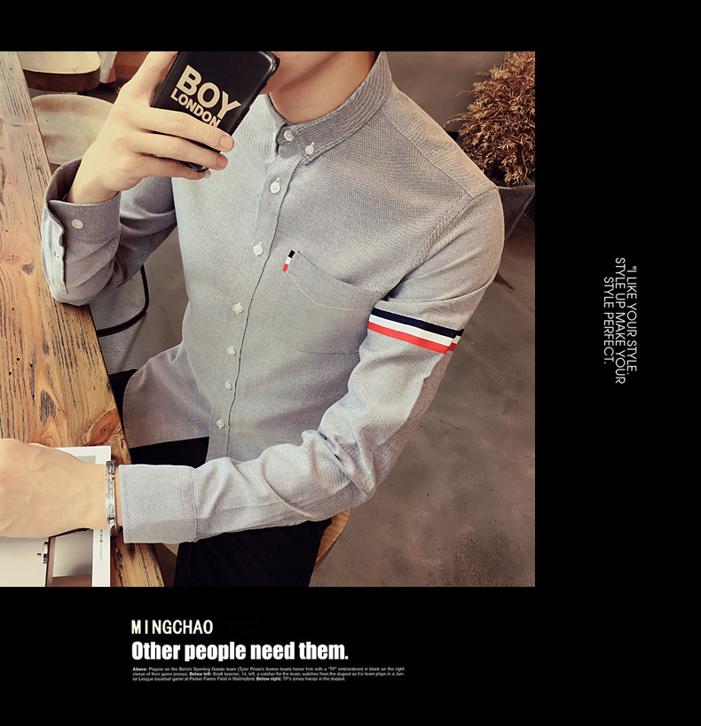 2017 New autumn men's casual tops brand shirt striped Strip decorate cotton men fashion solid color long sleeved Shirts M-XXXL 84