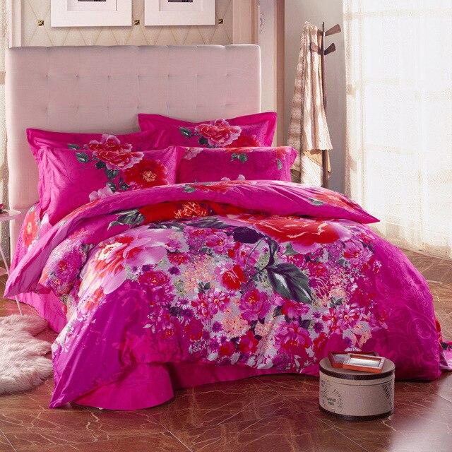 Hot Pink Rose Watercolor Flowers Bedding Set 100 Cotton Bed Sheets Duvet Cover Textile Sets