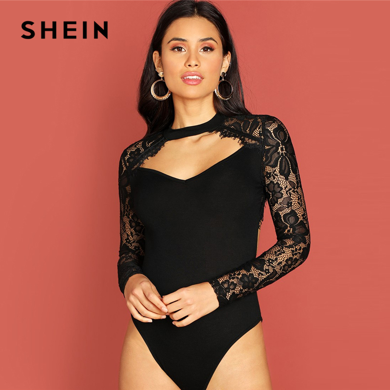 SHEIN Black Eyelash Lace Panel Cut Out Front Bodysuit Stand Collar Long Sleeve Women Autumn Skinny Plain Party Bodysuits