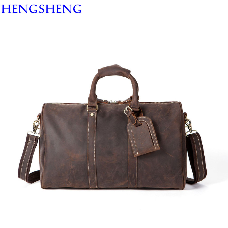 Free Shipping hot sale Genuine leather Luggage Bag with cow leather men travelling bag of quality leather men shoulder bags