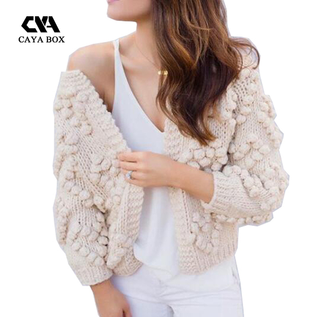 a45fa1e0dc723a 2018 winter female Knit Your Love Cardigan Ivory o neck knitted jumper  women sweaters ball Loose casual solid kintting clothes