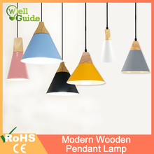лучшая цена Modern Wooden Pendant Lamp Lamparas E27 E26 led lamp Colorful Aluminum shade Pendant Lamp Dining Room Lights For Home Lighting