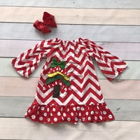 Christmas Fall Winter Baby Girls Kids Tree Chevron Print Green Cute Party Dress Flare With Matching