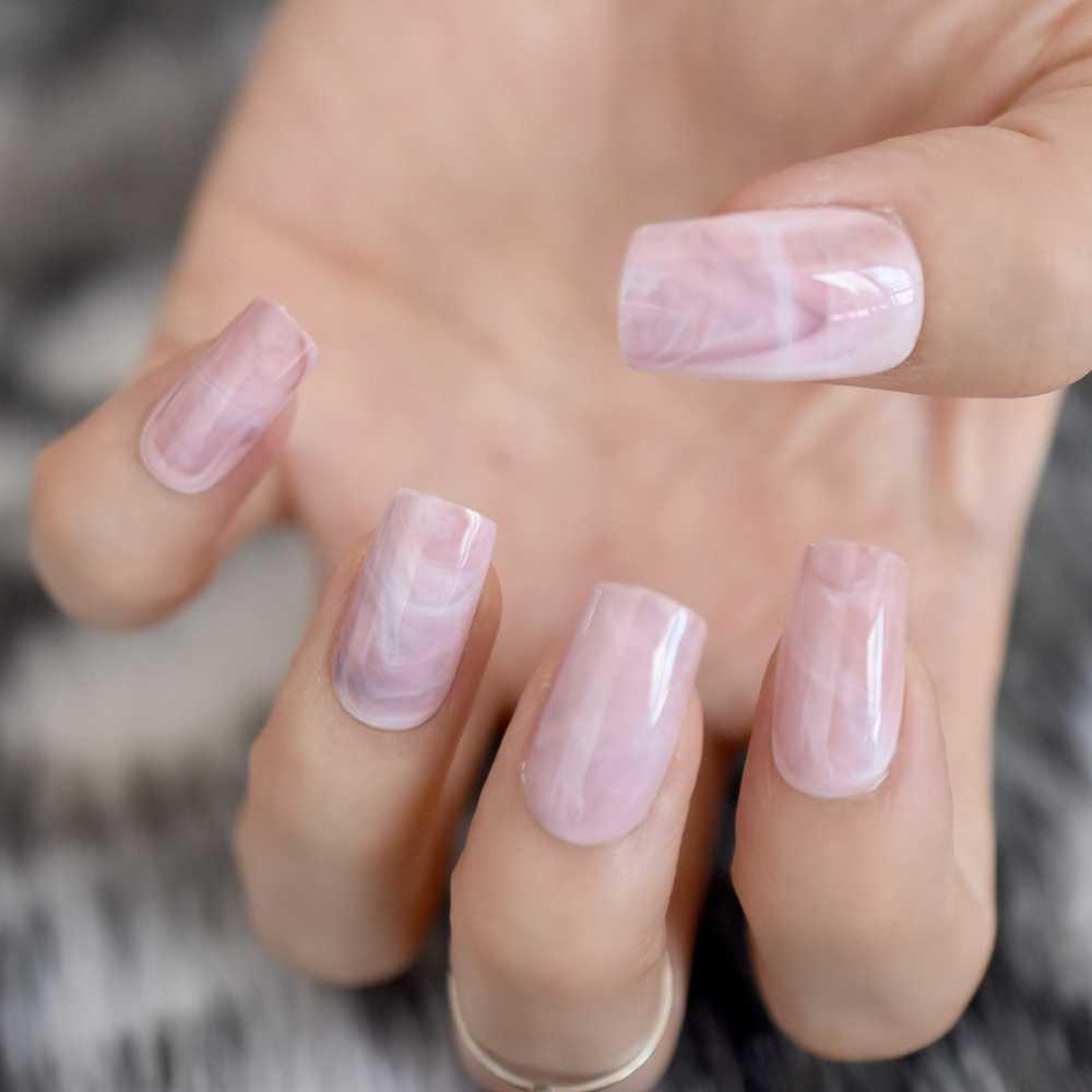 24pcs/kit Medium False Nail Tips Pink Marble Flat Full Cover DIY Acrylic Finished Nails Art Decoration Lady Daily Wear Z836