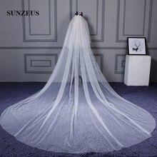 Чистый тюль, два слоя, свадебная фата, длинная для женщин, 3/5 метров, церковная фата невесты, velos de novia SBV22
