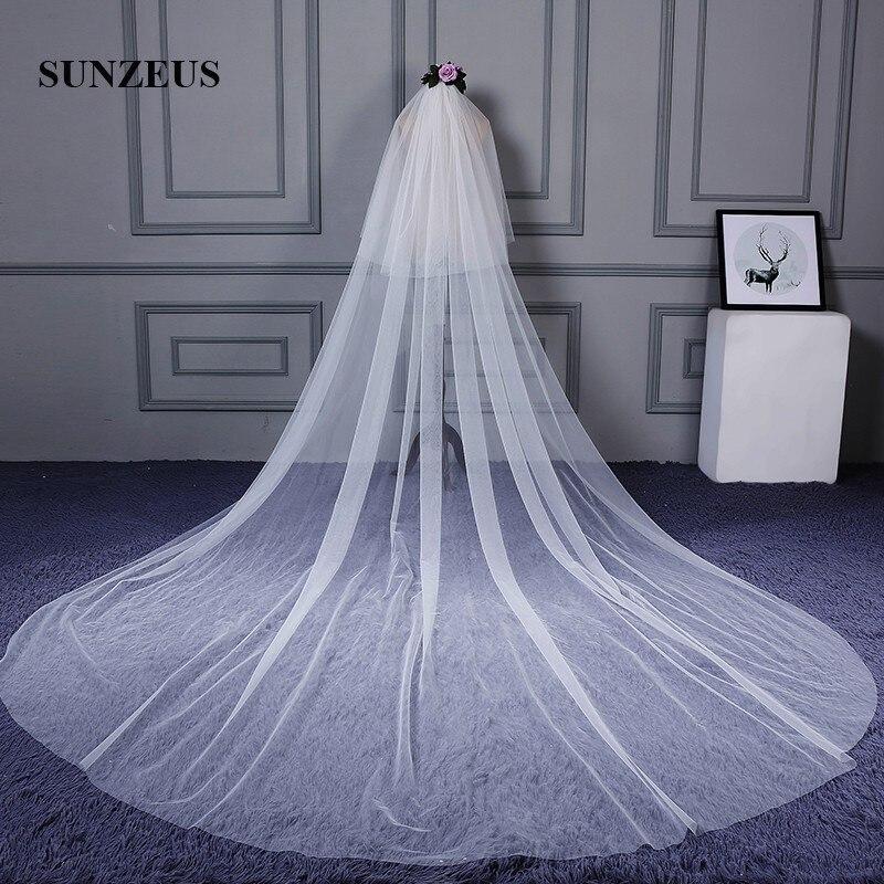 promo code 52187 e4305 Reine Tüll Zwei Schichten Hochzeit Schleier Lange für Frauen 3/5 Meter  Kirche Braut Schleier velos de novia SBV22