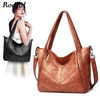 Rodful Fashion patchwork women's shoulder bag female black large leather tote bag women ladies handbags women's genuine leather