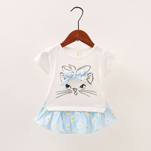New Baby Girl Clothes Dress Casual Floral Cat Patch Korean Summer Cotton Cute Pretty Clothing Children Kids Baby Girl Dresses