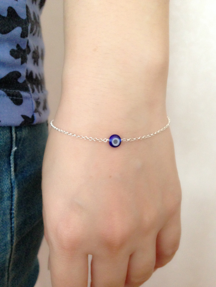925 Sterling Silver Turkish Blue Evil Eye Bracelet Italy Murano Gl Mini Bead Hand Made Jewelry In Strand Bracelets From Accessories On