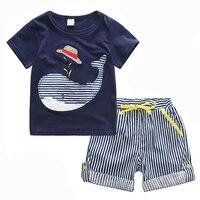 80-130 cm de Algodón Niños Chicos Ropa Niños Ropa Conjuntos Conjuntos de Verano Ropa de Bebé niño Lindo Los Niños de la Ballena camiseta Pantalones de Mezclilla