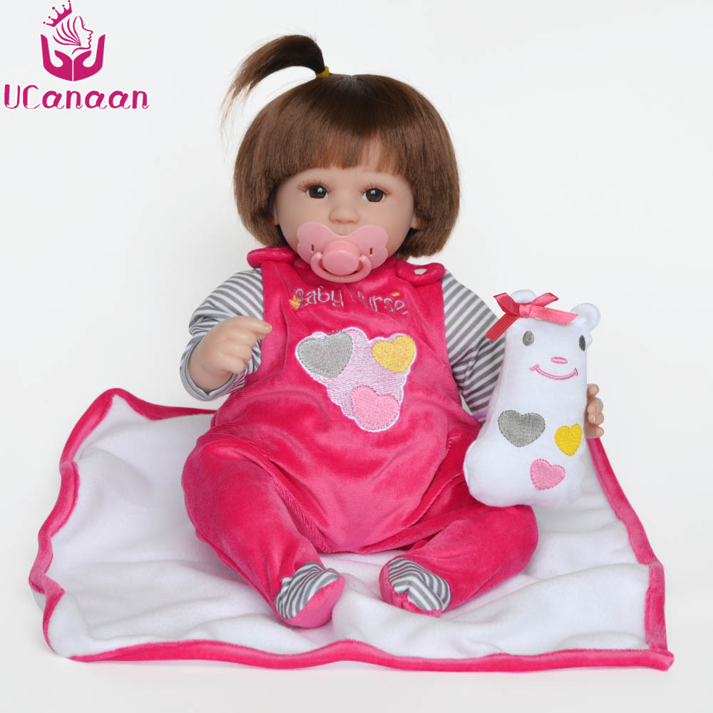 UCanaan 16 Inches Reborn Dolls Babies Toys Handmade Cloth Body Soft Silicone Reborn Baby Dolls Toys for Girls Child Best Gifts