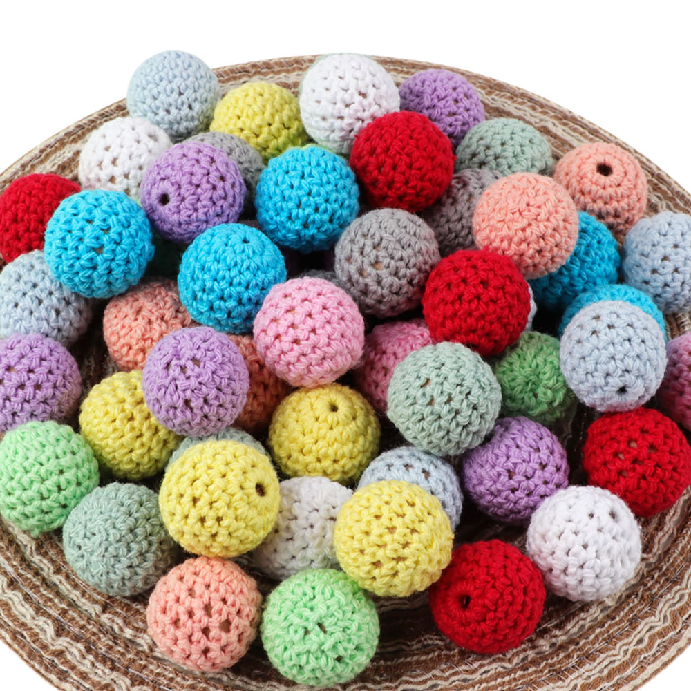 10Pc 20mm Wood Teethers Beads Handmade Crochet Ball DIY Wooden Teether Baby Rodent Accessories