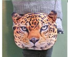 Tamaño pequeño Nuevo diseño femenino Retro dibujos animados 3D Animal estampado bolsos de hombro leopardo/León/Tigre/forma de gato bolso de las mujeres