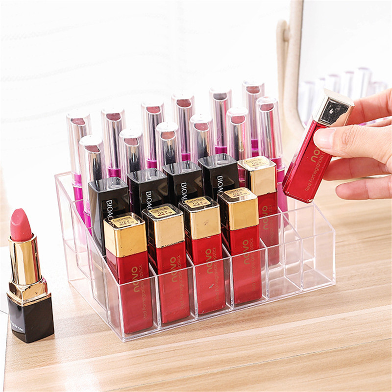 24 Grid Acrylic Makeup Organizer lipstick Holder Storage Box Cosmetic Box Stand Nail Polish make up organizer Tool(China)