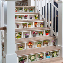6 Pcs/Set 3D Landscape Self-adhesive Stairs Risers Sticker Mural Staircase