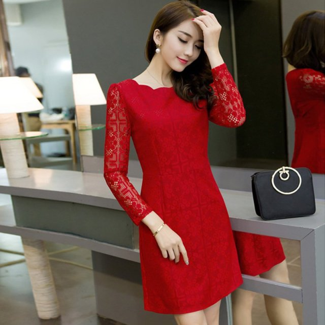 606fb27d0a23 Spring Summer Autumn Women Lace Casual Dress Long Sleeve Korean Party  Dresses Vestido White Black Red Mini Dress Bodycon Robe