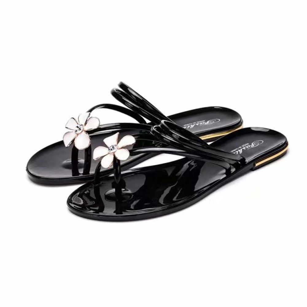 9ee6bf3d7124 Trendy Women Sandals Flower Rhinestone Jelly Shoe Ring Toe Cross Strap Flip  Flops Flats Slip On