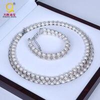 Daking настоящая жемчужина AAA Класс качество, свадебные украшения, комплект с жемчугом Цепочки и ожерелья Браслет Свадебные принадлежности