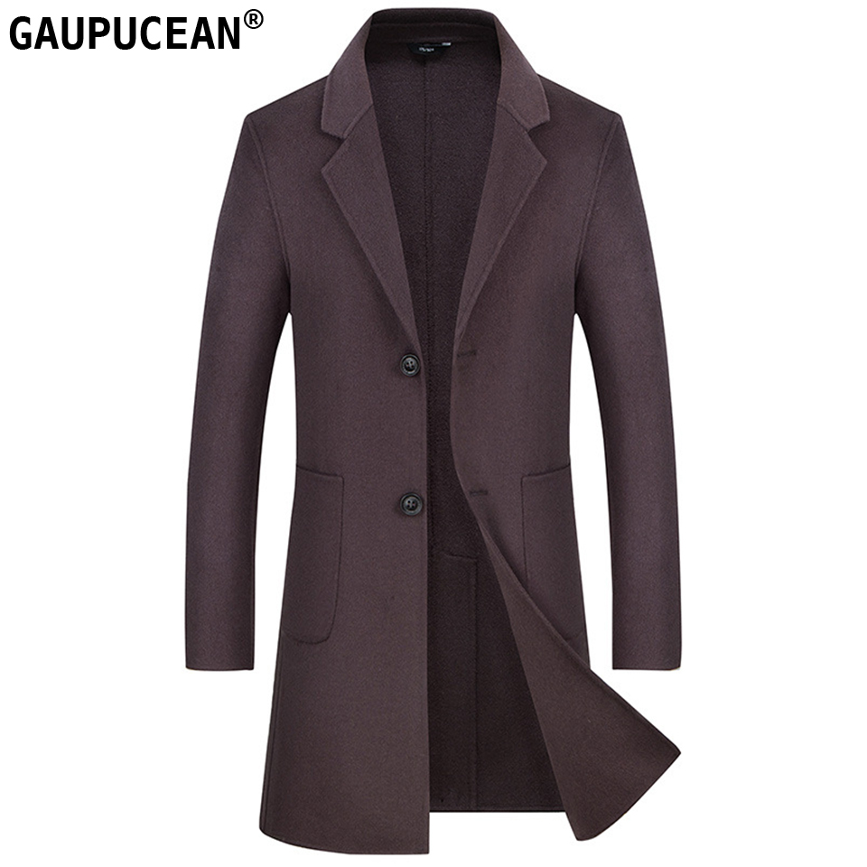Man Wool Long Coat Hand Made Slim Single-breasted Quality Buttons Crease Resistant Warm Pockets Men Double-faced Woolen Overcoat