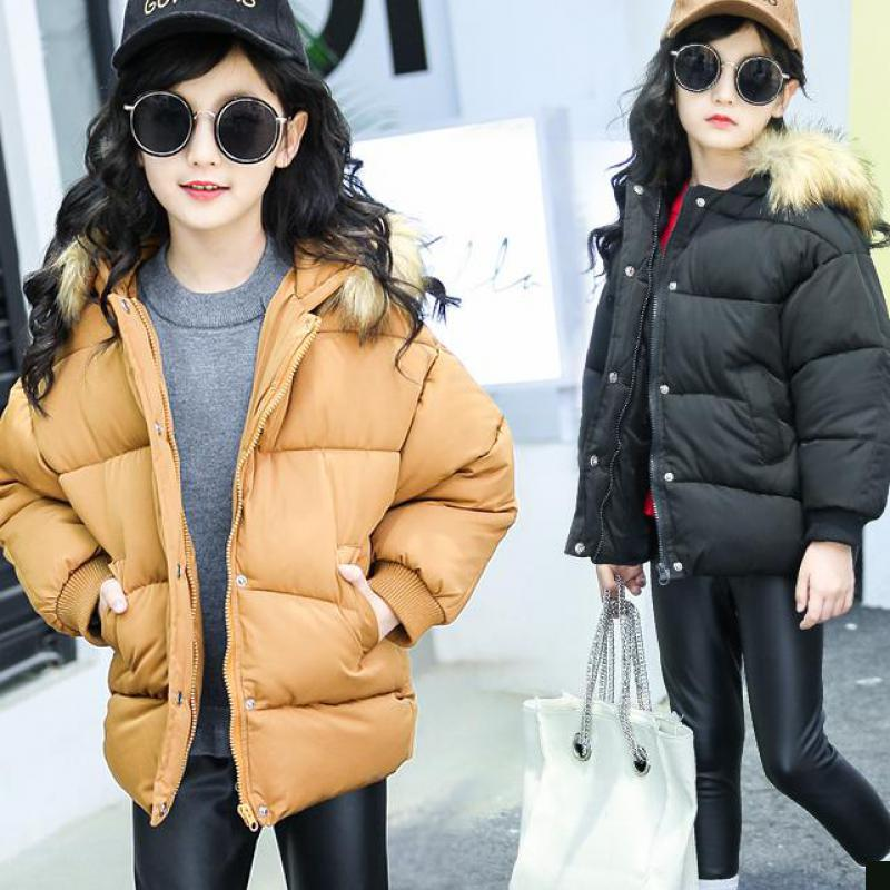 Teenage Girls 2018 New Black Thick Coat Winter Wear Costume For Size 6 7 8 9 10 11 12 13 14 Years Child Casual Down Jackets Sale
