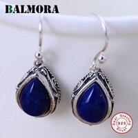 100 Real Pure 925 Sterling Silver Jewelry Elegant Dark Blue Lapis Lazuli Earrings For Women Best