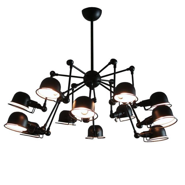 Vintage loft american style 12 lights mechanical arm spider vintage loft american style 12 lights mechanical arm spider chandeliers industrial black ceilng lamp fixtures lighting mozeypictures Image collections