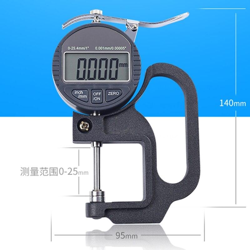 Medidor de espesor de 0.001mm, micrómetro Digital métrico/pulgadas de rango de 0 a 25MM, medidor de espesor de 0,5