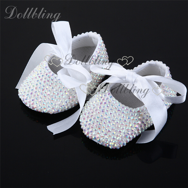 White AB Crystal Wedding idea ribbon match baby first walkers handmade custom No.1 dollbling brand crystal girl shoes