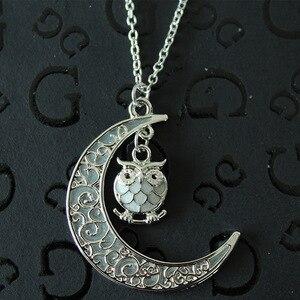 Женские светящиеся сова ожерелья с кулонами в виде Луны светится в темноте Животное Очарование Серебристые цепи для девочек модные ювелирн...