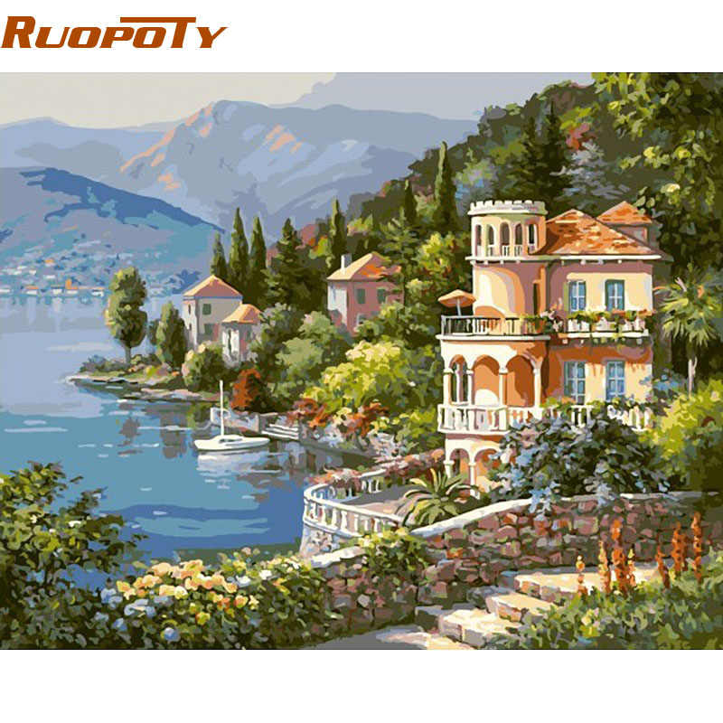 RUOPOTY Frame Castle DIY Painting By Numbers Kit Hand painted Oil Painting Wall Art Picture Home Decoration 40x50cm Unique Gift