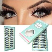 Dingsen 10 pares natural cílios postiços falsos cílios maquiagem longa 3d vison cílios extensão vison cílios para a beleza