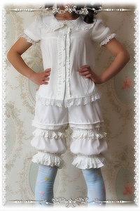 Image 3 - Shorts Lolita classiques blancs, de marque, Bloomers à volants, par Infanta