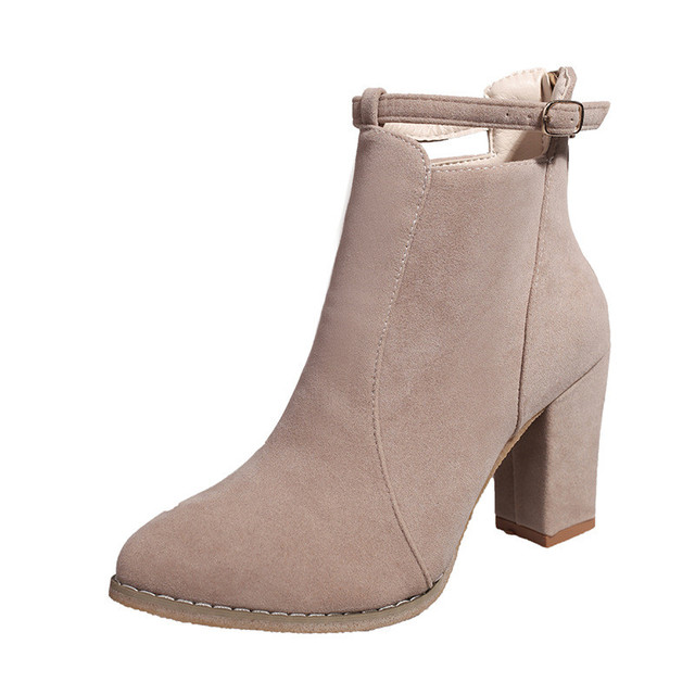 bbccb90e122 Ankle boots fashion square toe thick heel women boots high heel Flock  leather lady Winter Women Boots feminino Martin shoes