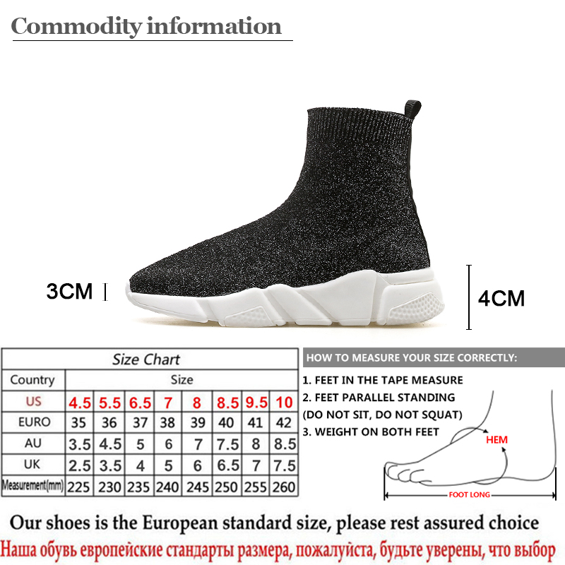 Gdgydh 2018 New Spring Autumn Women Vulcanize Shoes Slip On Stretch Fabric  Black Sneakers Platform Heels Ladies Casual Shoes -in Women s Vulcanize  Shoes ... 5c63c648eed