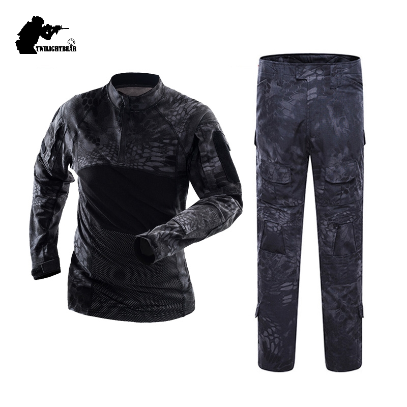 Military Mens Camouflage Tactical Suits Long Sleeve Brand Cotton Breathable Combat Frog Set Men Training Clothing 3XL AF112B