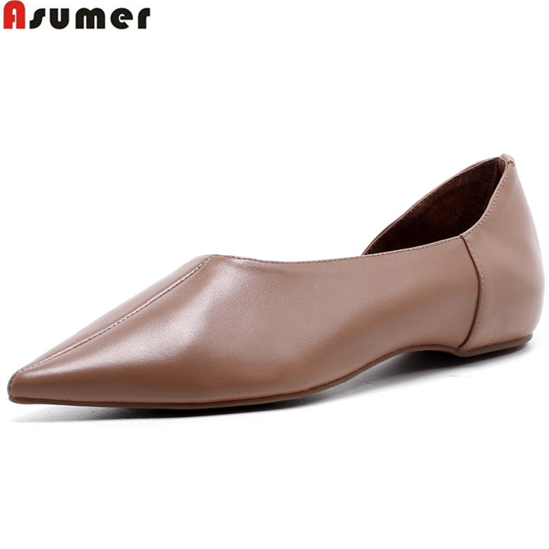 ASUMER black khaki pointed toe casual spring autumn shoes woman low heel women natural genuine leather shoesASUMER black khaki pointed toe casual spring autumn shoes woman low heel women natural genuine leather shoes