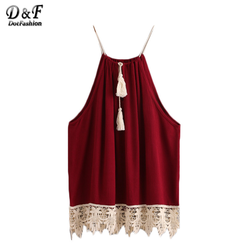 Dotfashion Woman Spaghetti Strap Tank Top Boho Summer 2016 Burgundy Backless Lace Trimmed Tasselled Drawstring Neck