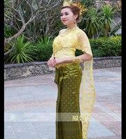 Dai Princess Dress Women S Traditional Thai Shoulder Veil Slim Thai Princess Traditional Costume