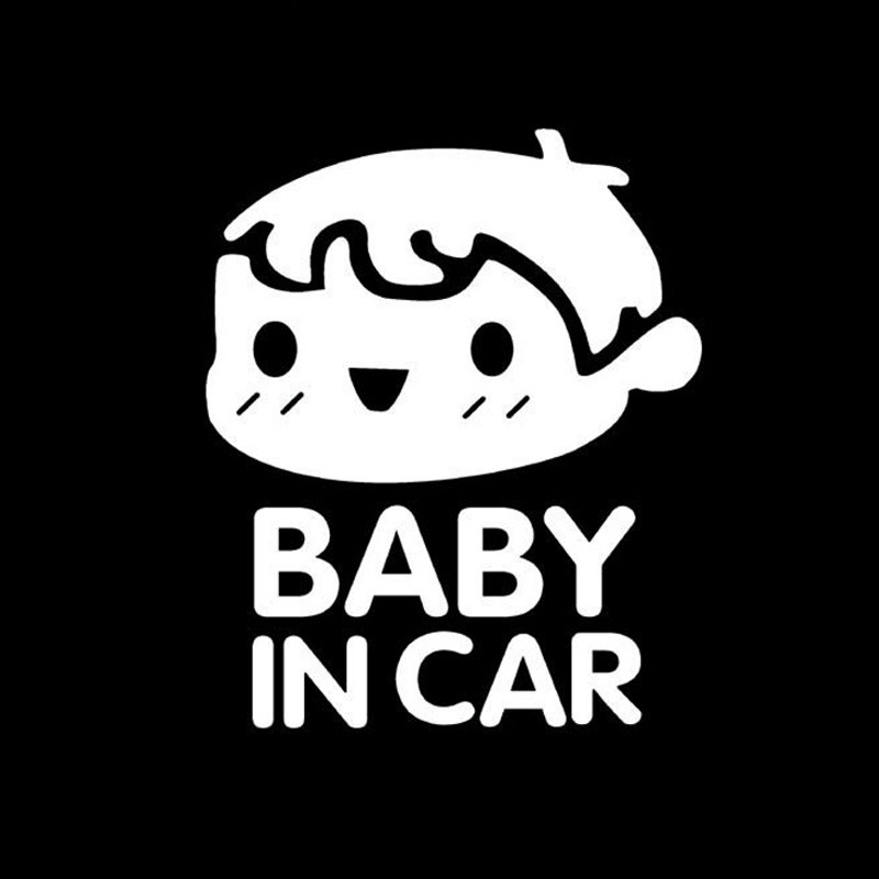 10 Pieces 11*14cm Baby In Car Tail Warning Stickers Rear Car Stickers Baby In The Car Baby Boy Pattern Car Styling Black White