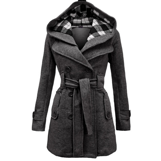 High Quality Cotton Women Coat with Hat Plus Size Grid Pattern with Belt Double-breasted Long Jacket Coat GC1610273