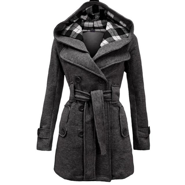 Revestimento Das Mulheres com Chapéu de Algodão de alta Qualidade Plus Size Padrão de Grade com Cinto Trespassado Longo Jacket Brasão GC1610273