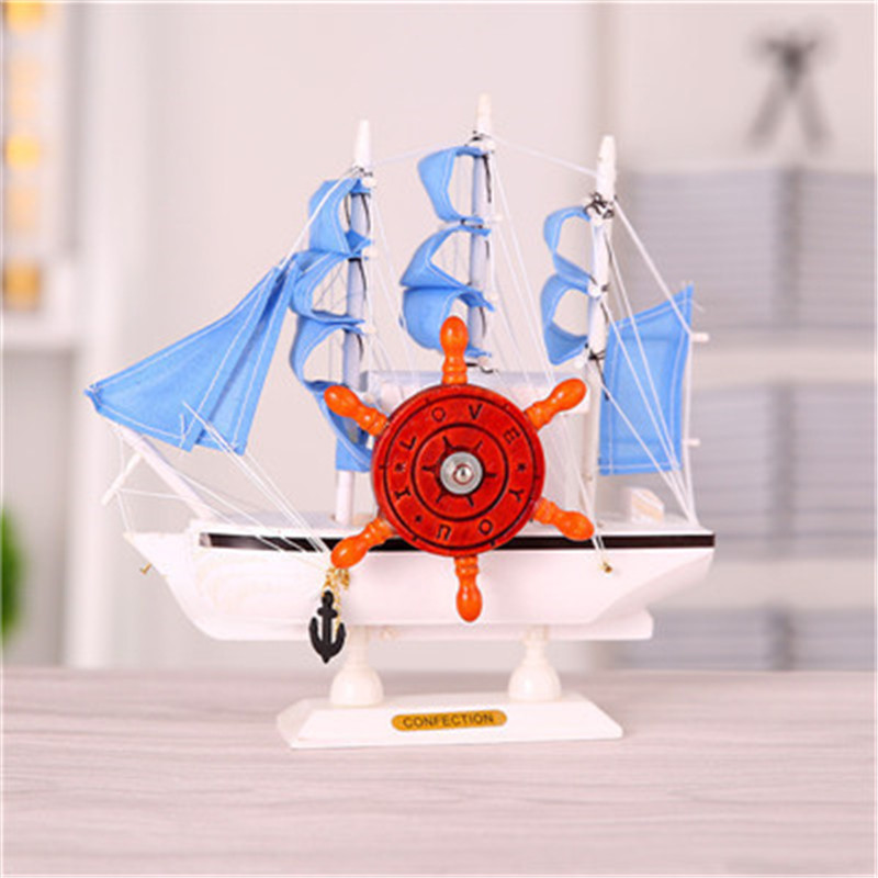 Mediterranean Sailing Boats Figurines Ornaments Furniture Home Office Decoration Hand-polished Wood Crafts Simulation Toys Gifts ...
